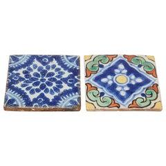 Moorish Turkish Hand Painted Crackle Glazed Ceramic Tiles