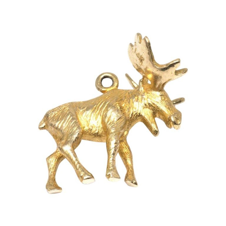 14k Gold Moose Charm; Vintage Charm; 14k Gold Charm; Retro Charm; Animal Charm; Charm Bracelet; Charm Necklace; Layering Necklace