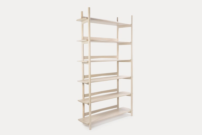 Chinese Mora Bookcase by Sun at Six, Nude, Minimalist Bookcase in Oak Wood For Sale