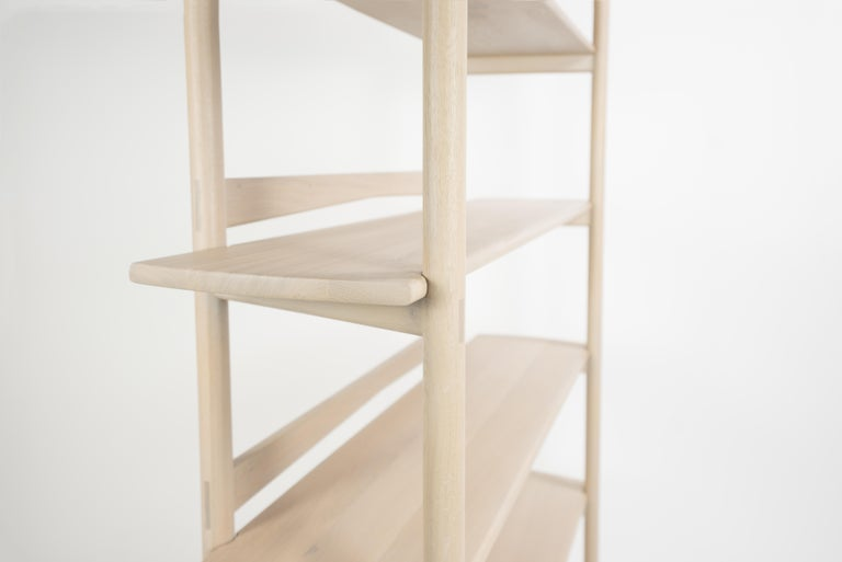 Contemporary Mora Bookcase by Sun at Six, Nude, Minimalist Bookcase in Oak Wood For Sale
