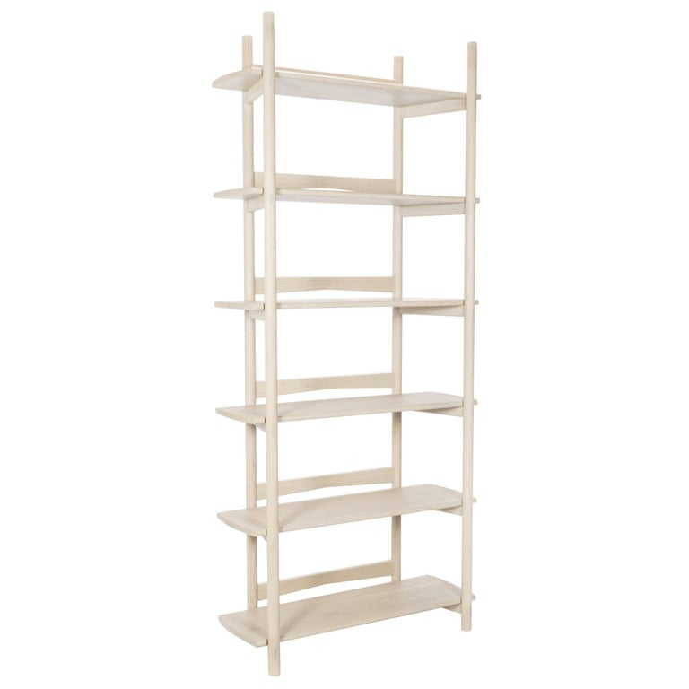 Mora Bookcase by Sun at Six, Nude, Minimalist Bookcase in Oak Wood For Sale