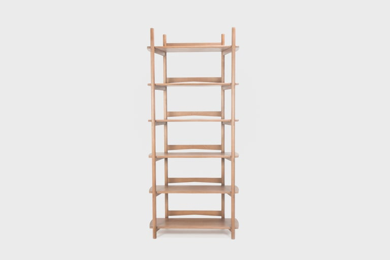 Sun at Six is a Brooklyn design studio. We work with traditional Chinese joinery masters to handcraft our pieces using traditional joinery. The Mora bookcase comes fully assembled, built from solid white oak, finished in our house made tung oil, and