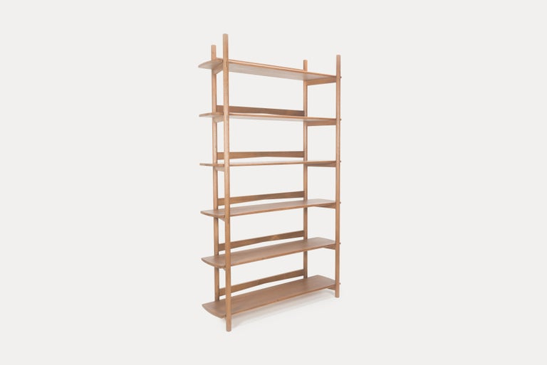 Mora Bookcase by Sun at Six, Sienna, Minimalist Bookcase in Oak Wood In New Condition For Sale In San Jose, CA