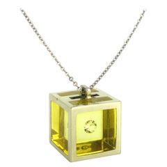 Morabito 1970 Modernist Gold Maxi Cube Diamonds Pendant