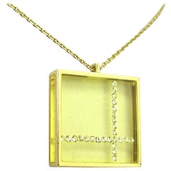 Morabito Modernist Rectangular Diamonds Pendant on Chain, 18 Karat Gold, circ
