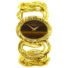 Morabito Tiger Eye Yellow Gold Manual Wind Wristwatch