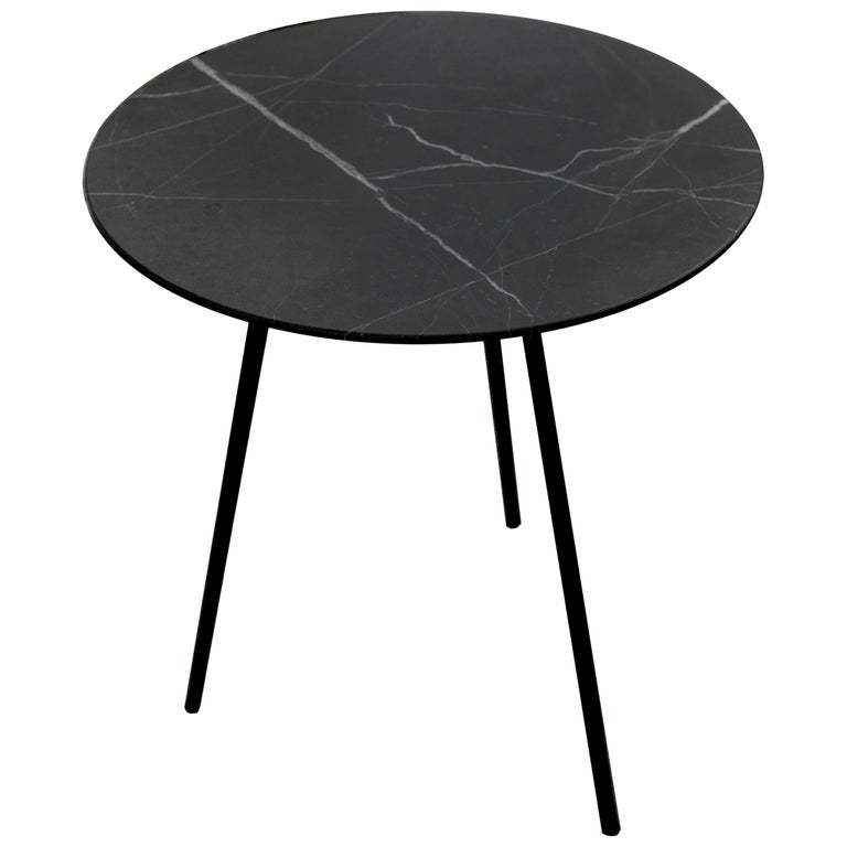 Moray Steel and Black Marble Large Side Table For Sale