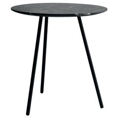 Moray Steel and Black Marble Side Table