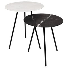 Moray Steel and Marble Side Tables Set