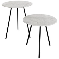 Two Moray steel and one of a kind white marble Side Tables set 01