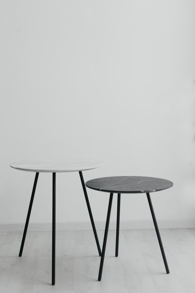 Modern Moray steel and white marble Side Table For Sale