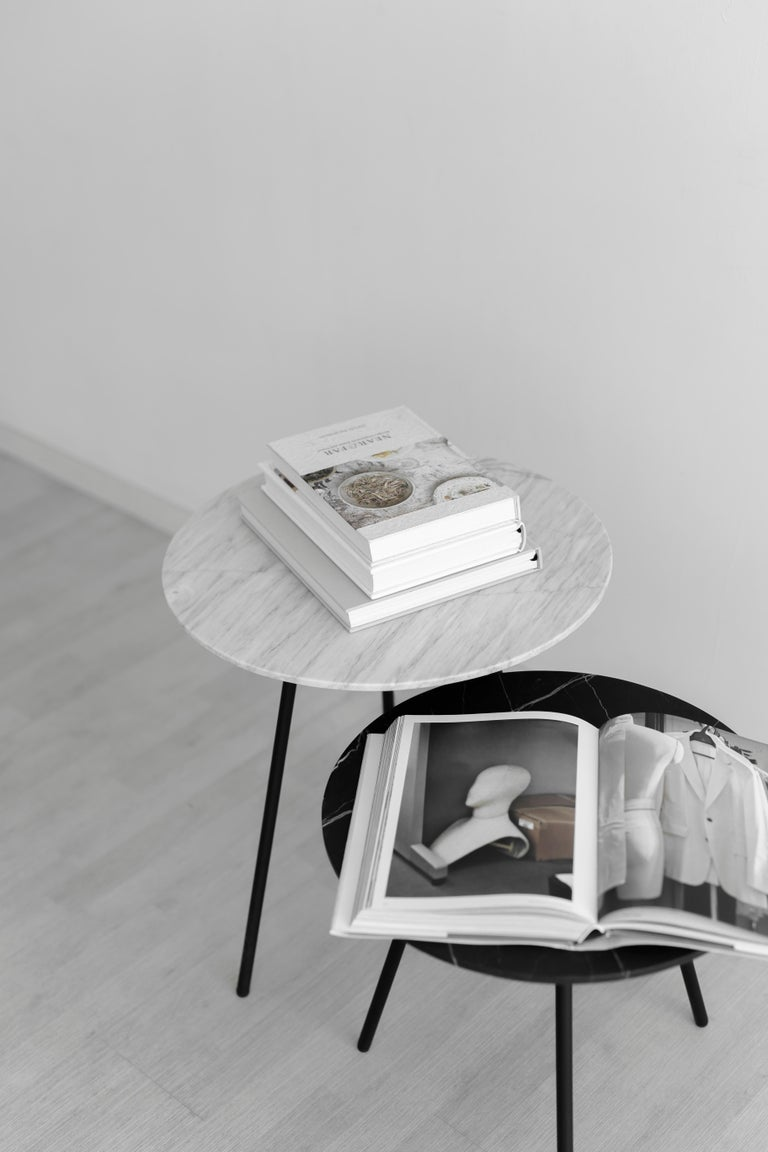 Mexican Moray steel and white marble Side Table For Sale