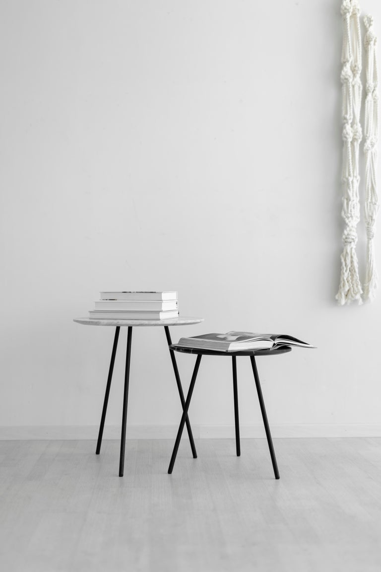 Hand-Crafted Moray steel and white marble Side Table For Sale