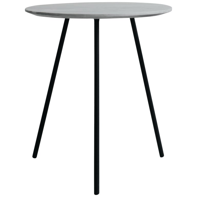 Moray steel and white marble Side Table For Sale