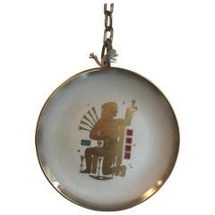 "Morbelli Zodiac Plate ""Virgin"" Porcelain Gold, 1950, Italy"