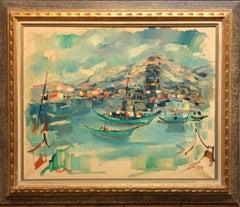 1940s Israeli Modernist Oil Painting Marine Harbor Landscape Bezalel School