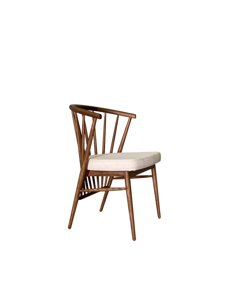 Leather Morelato, Jenny Chair in Ash Wood For Sale