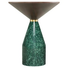 Morelato, Side Table in Guatemala Green Marble and Ash Wood