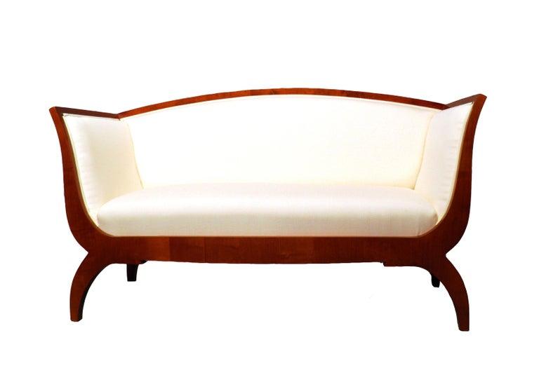 Italian Morelato Wooden Sofa in Biedermeier Style For Sale
