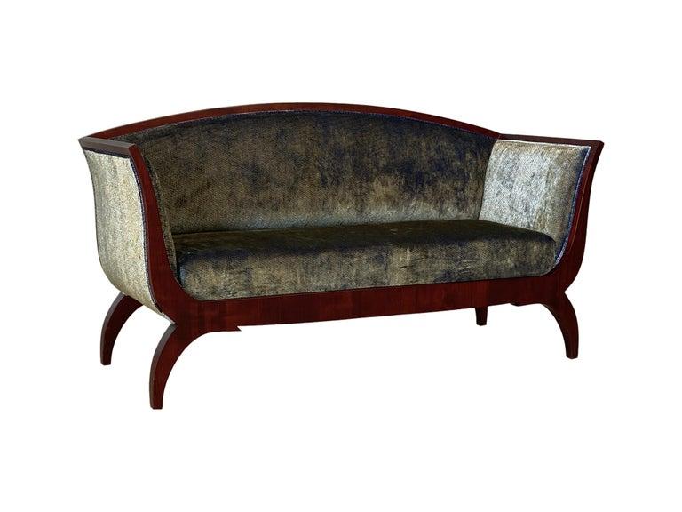 Cherry Morelato Wooden Sofa in Biedermeier Style For Sale