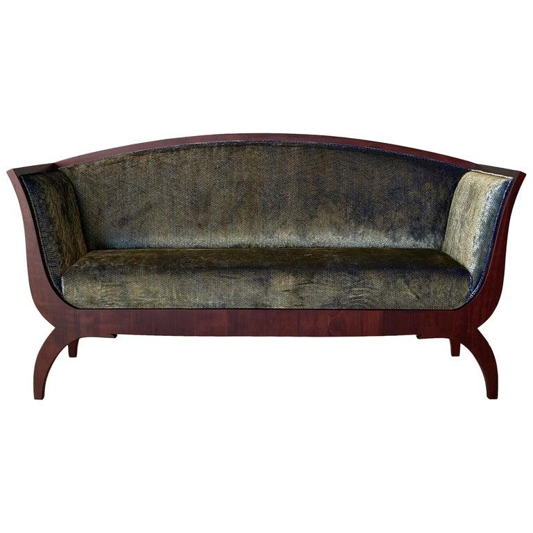 Morelato Wooden Sofa in Biedermeier Style For Sale