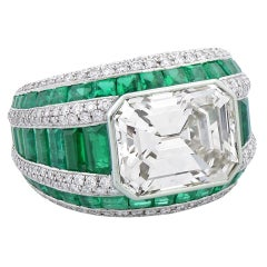 Morelle Davidson 5.82 Carat Emerald Cut Diamond Emerald Platinum Cocktail Ring