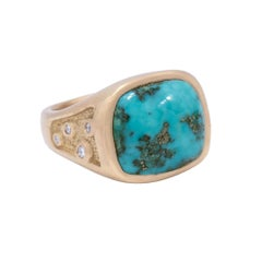 Morenci Turquoise Signet Ring in 18 Karat Gold with Diamonds