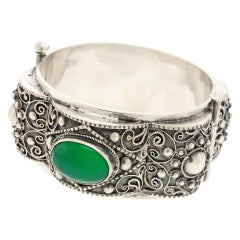 Moresque Aesthetic Silver Bangle Bracelet, French