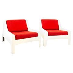 Moretti Mid Century Fiberglass Lounge Chairs, Pair
