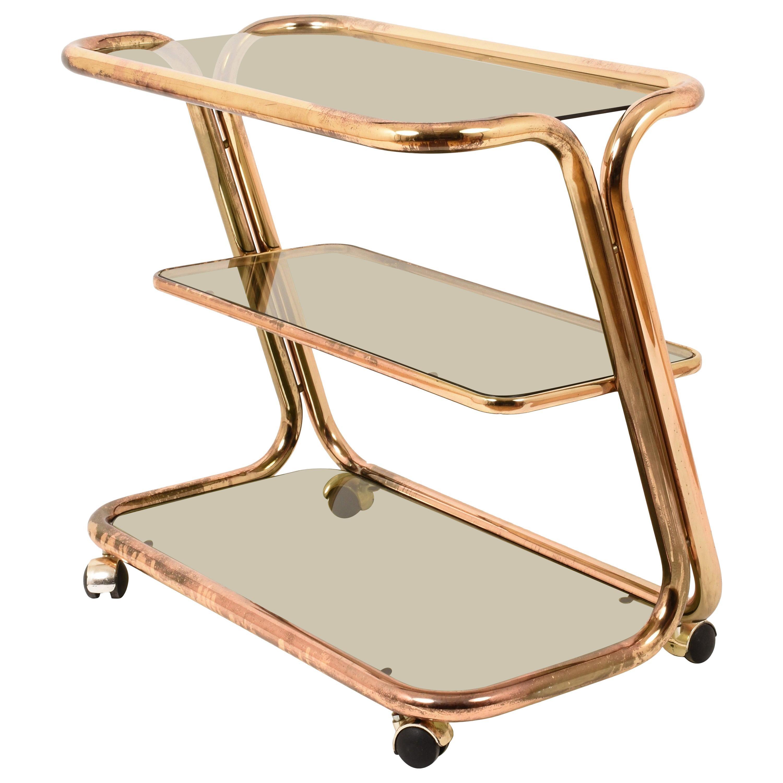 Morex Midcentury Three Levels Brass and Smoked Glass Italian Bar Cart, 1970s