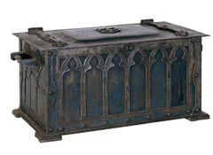 Hand Hammered Arts and Crafts Style Wrought Iron Fire Box