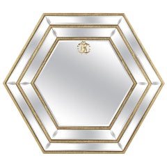 Morgana Hexagonal Natural Mirror with Wooden Structure by Roberto Cavalli