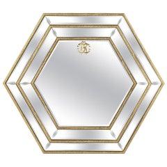 Morgana Hexagonal Natural Mirror by Roberto Cavalli Home Interiors