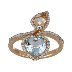 Morganite and Aquamarine Ring with Diamonds in 18 Karat Rose Gold