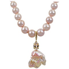 Morganite and Baroque Pearl Pendant on Graduated Pink Pearl Beaded Necklace