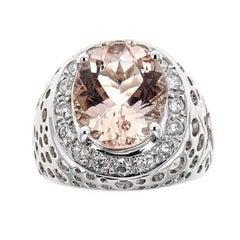 Morganite and Diamond 14 Karat Gold Ring