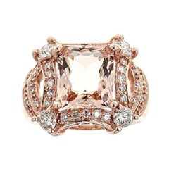 5 tcw Princess Cut Morganite and Diamond Ring in 14k Rose Gold Cocktail Ring