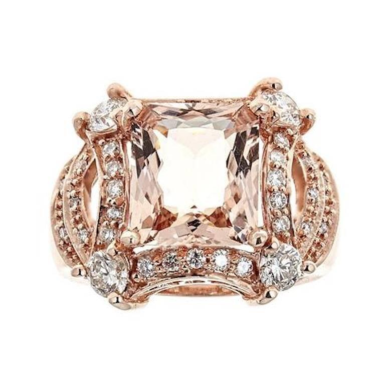 5 tcw Princess Cut Morganite and Diamond Ring in 14k Rose Gold Cocktail Ring For Sale