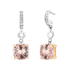 Cushion Morganite and Diamond White Gold Hoop Drop Earrings Weighing 4.28 Carats