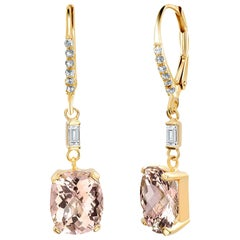 Morganite and Diamond Yellow Gold Hoop Drop Earrings Weighing Carat
