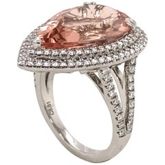 Morganite and Diamonds on White Gold 18 Karat Cocktail Ring Pear Shape