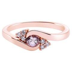 Morganite and Diamonds Twist Tension Ring in 14K Rose Gold