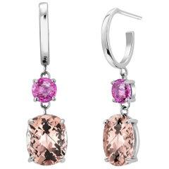 Morganite and Pink Sapphire Gold Hoop Drop Earrings