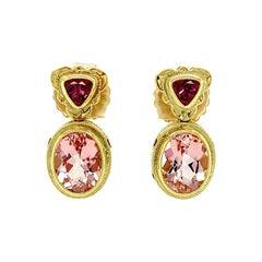 Morganite and Rhodolite Garnet Yellow Gold Bezel Drop Dangle Stud Earrings