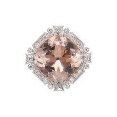 Morganite and White Diamond 18 Carat Rose and White Gold Dress Ring
