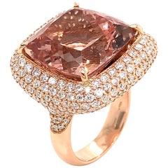 Morganite Cushion Shape and Diamonds Color G on Rose Gold 18 Karat Cocktail Ring
