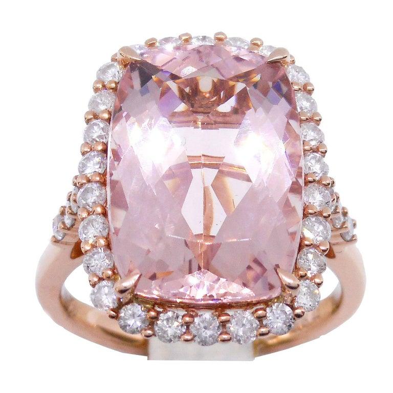 Morganite Diamond 18 Carat Rose Gold Large Cocktail Dress Ring 8.44 Carat