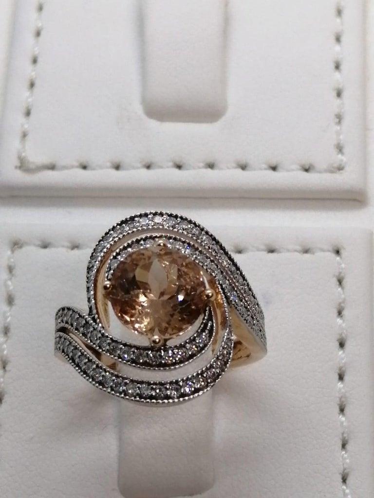 Morganite Diamond Fashion Ring Set in 18 Karat Rose Gold 'VS/G Diamonds' For Sale 2