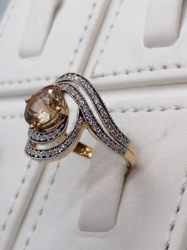 Morganite Diamond Fashion Ring Set in 18 Karat Rose Gold 'VS/G Diamonds' For Sale 3