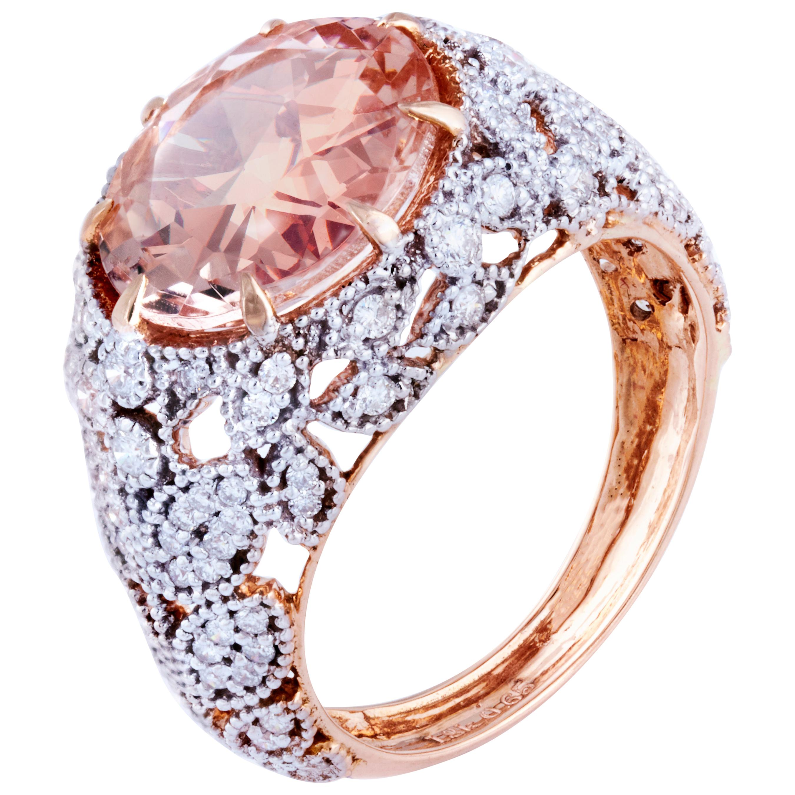 Morganite Diamond Fashion Ring Set in 18 Karat Rose Gold 'VS/G Diamonds'